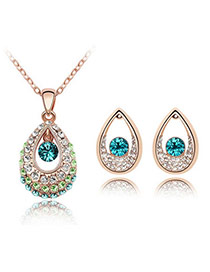 Oversized rose gold+blue Set-Thindu Princess Alloy Crystal Sets