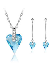 Platinum Sea Blue Set-Well Content Alloy Crystal Sets