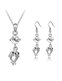 Huge White Set-Double Dolphin Alloy Crystal Sets