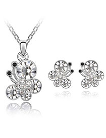 Little White Set-Butterfly Dancing Alloy Crystal Sets