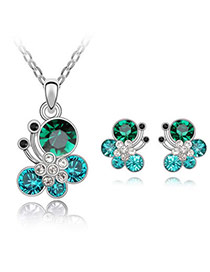 Cheerleadi Sea Blue Set-Butterfly Dancing Alloy Crystal Sets