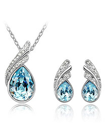 Quilted Blue Set-Water Drop Alloy Crystal Sets