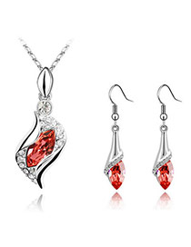 Cranes Padparadscha Set-Angel Alloy Crystal Sets
