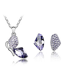 Sapphire Purple Butterfly Alloy Crystal Sets