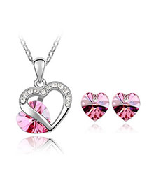 Classic Plum Red Set-Heart Appointment Alloy Crystal Sets