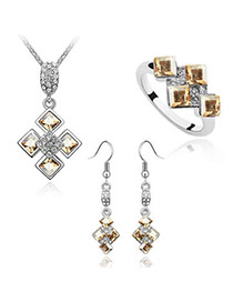 Tall Champagne Champagne Set-Sweet Square Alloy Crystal Sets