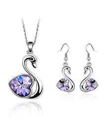 Plaid Violet Set-Swan Alloy Crystal Sets