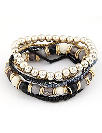 Venetian Black Bohemian Style Multilayer Bead Korean Fashion Bracelet