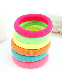 Korean sweet fashion fluorescence color hair rope (Color will be random) (1pcs Price)