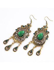 Indian Green Hollow Out Water Drop Design Alloy Korean Earrings