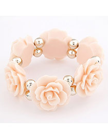 Quicksilve Pink Flower Elastic Design Resin Korean Fashion Bracelet