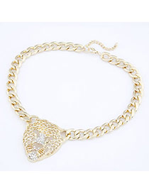 Girls light Gold Color Queen Lion Avatar Pendant Alloy Bib Necklaces