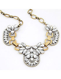 Simple Bronze Flower Pendant Alloy Bib Necklaces