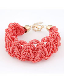 Baggy Red Weave Design Alloy Korean Fashion Bracelet