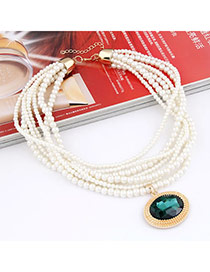 Political Green Imitate Pearl Multilayer Design Alloy Beaded Necklaces