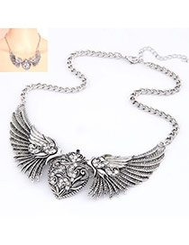 Fashion Antique Silver Wings Of Love Alloy Bib Necklaces