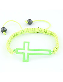 Wonderful Fluorescent Yellow Hollow Out Corss Design Braided Rope Korean Fashion Bracelet