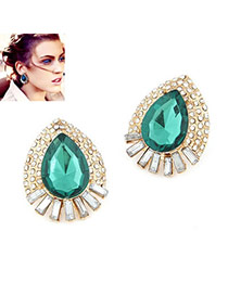 Padded Green Gemstone Water Drop Alloy Stud Earrings