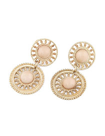 Monogramme Beige Sunflower Design Alloy Stud Earrings