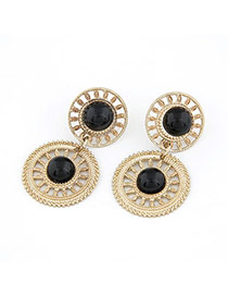 Rolling Black Sunflower Design Alloy Stud Earrings