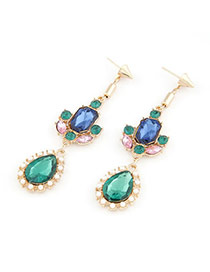 Hemming Multicolour Water Drope Design Alloy Stud Earrings