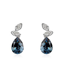 High Quali Dark Blue Earrings Alloy Crystal Earrings
