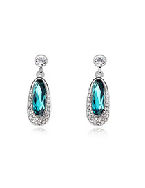 Bodybuildi Blue Earrings Alloy Crystal Earrings