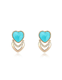 Boxed Lake Blue Blue Earrings Alloy Crystal Earrings