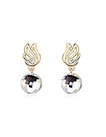 Vintage White Earrings Alloy Crystal Earrings