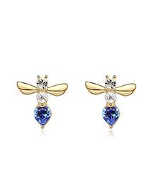 Buckle Blue+Champagne Blue Earrings Alloy Crystal Earrings
