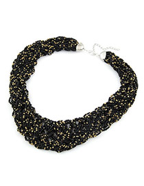 Pagan Black Handmade Bead Alloy Bib Necklaces