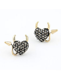 Winter Black Heart Shape Alloy Stud Earrings