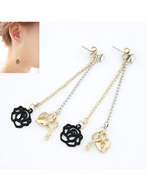 Stylish black Gold Color Key Rose Design Alloy Stud Earrings