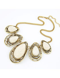 Rebel Beige Wayer Drop Shape Alloy Bib Necklaces