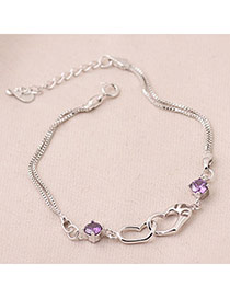 Tattoo Purple Heart To Heart Zircon Fashion Bracelets