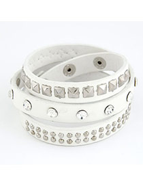 Greek White Multilayer Mulit Size Rivet Pu Korean Fashion Bracelet