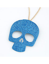 Venetian Sapphire Blue Skull Head Shape Alloy Bib Necklaces