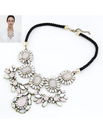 Customized Multicolour Exquisite Water Drope Pendant Alloy Bib Necklaces