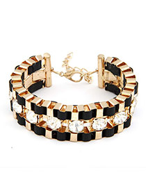 Specialty Black Exquisite Weave Design Alloy Korean Fashion Bracelet