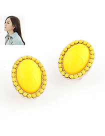 yellow sweety ellipse shape alloy Stud Earrings