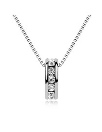 silver color five Rhinestones design alloy Crystal Necklaces