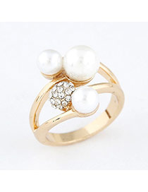 white blink pearl design alloy Korean Rings