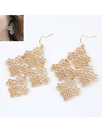 gold color hollow Four Leaf Clover alloy Korean Earrings