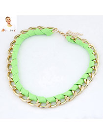Layered Green Fluorescence Weave Design Alloy Chains