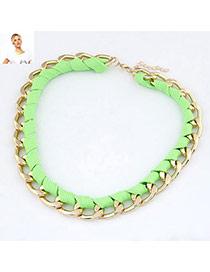 Layered Green Fluorescence Weave Design