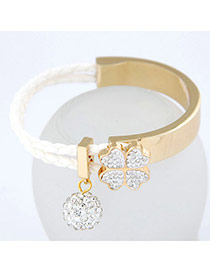 Misses White Simple Blink Ball Design Alloy Korean Fashion Bracelet
