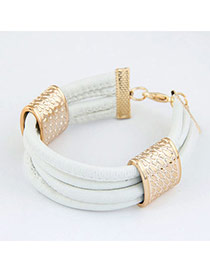 Rave White 4 Multilayers Design Alloy Korean Fashion Bracelet