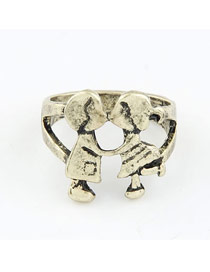 Hemming Gold Color Vintage Lover Shape Design Alloy Korean Rings