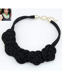Fashion Black Pure Color Decorated Multilayer Design