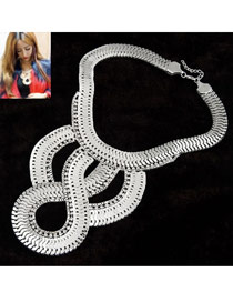 Friendly Silver Color Simple Weave Decorated With Diamond Alloy Bib Necklaces